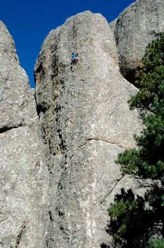 Errett Allen on the first ascent redpoint of Hog Heaven 5.10a, Monaste...