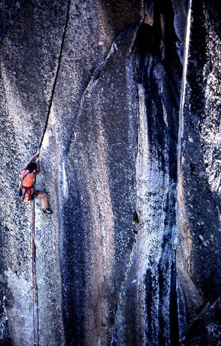 "Bill Price leading ""Phoenix"" 5.13. Yosemite. 1982."