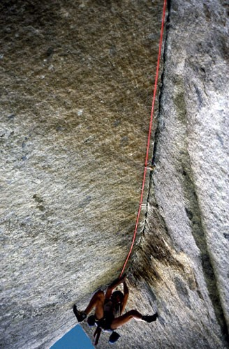"Bill Price on ""Grand Illusion"" 5.13b. Sugarloaf, Tahoe, Ca.1982"
