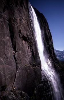 "Kurt Smith leading the first ascent of ""Powerslave"" 5.11b, Lower Yosem..."