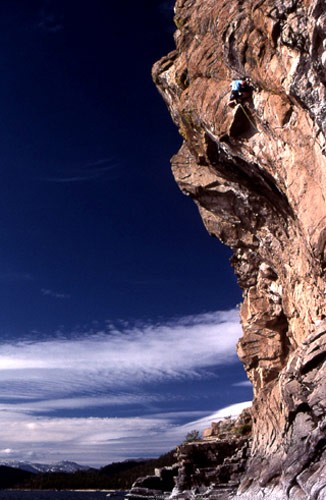 "Al ""Dude"" Swanson on ""Impact Zone"" 5.12a, Cave Rock, Tahoe, NV. 1988."