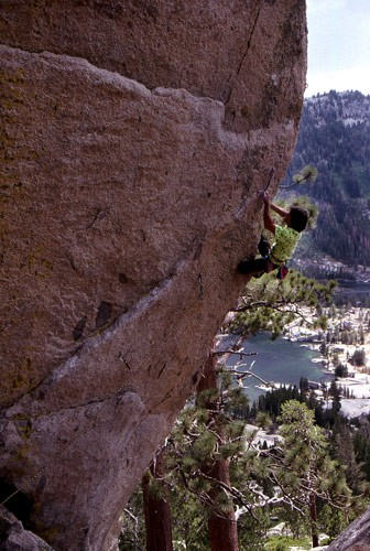 "Dan Osman on the first ascent of ""Metallarete"" 5.12b. Echo Lakes, CA. ..."