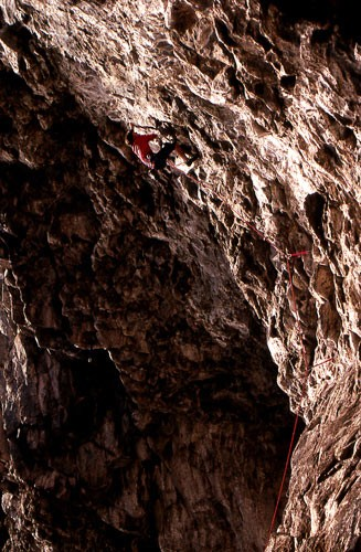 "Dan Osman on the first ascent of ""Psycho Monkey"" 5.13b. Cave Rock, Lak..."