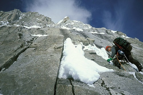 Mark Westman leading through the second rock band on the Infinite Spur...