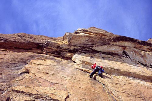 Chris McNamara onsighting the crux 5.11 pitch on the first ascent of G...