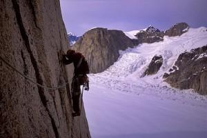 Chris McNamara leading the 5.9 traverse pitch on the Cobra Pillar, Mt....