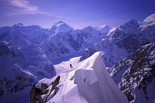 David Gottlieb traversing cornices high up on the Southwest Ridge of P...