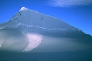 An avalanche on an unnamed and unclimbed peak on the Yentna glacier.