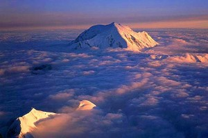 Sunset on Mt. Foraker, taken from high on the Cassin Ridge of Denali.