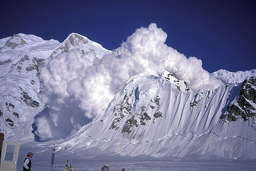 A massive 5,000-foot avalanche off Mt. Hunter consumes a smaller peak ...