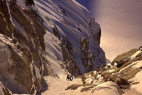 Looking down the route on an evening climb of the North Couloir of the...