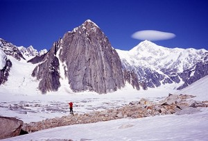 Chris McNamara looks out on the Ruth Gorge and Mt. Barrill.  Denali ha...