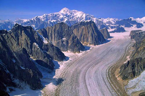 A grand overview of the Ruth Gorge and its 5,000-foot western rampart....
