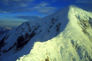 The upper part of the Sultana Ridge on Mt. Foraker. The route follows ...