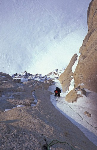 Mark Westman following the McNerthney Ice Dagger on the North Buttress...