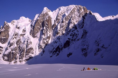 Climbers camped on the West Fork of the Ruth Glacier with the Rooster ...