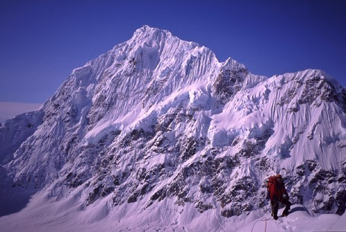David Gottlieb on Southwest Ridge of 11,300 with the north face of Mt....