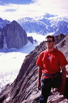 Chris McNamara on the summit of the Stump, Mt. Barrill in the distance...