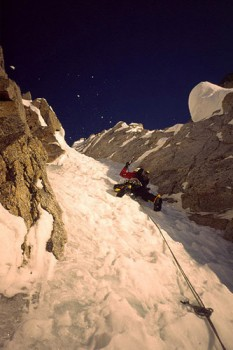 Daniel Zimmermann leading steep ice on the Mini-Moonflower's North Cou...