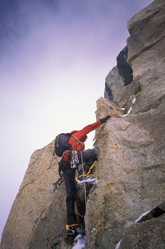 Daniel Zimmermann mixing it up on Tower 4 on the Southwest Ridge of Mt...