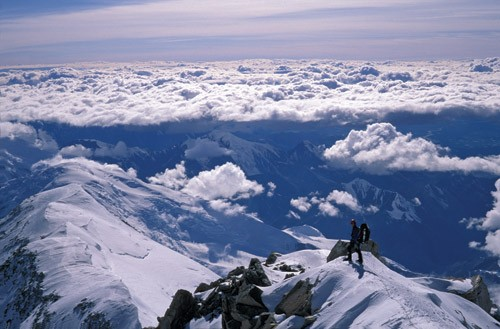 A climber high on the West Buttress of Denali.