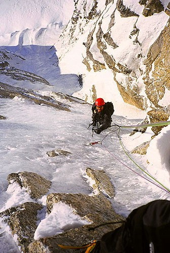 Joe Puryear following on the North Couloir of the Mini-Moonflower.
