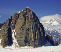 Mount Barrill - Cobra Pillar VI, 5.11, C1+, 50-degree snow - Alaska, USA. Click to Enlarge