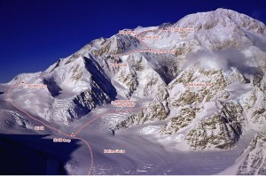 Denali - West Buttress Alaska Grade 2, 50-degree ice - Alaska, USA. Click to Enlarge