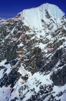 Mount Huntington - Harvard Route VI, 5.9, A2, 70-degree ice - Alaska, USA. Click to Enlarge