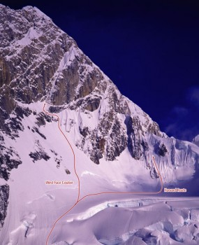 Mount Huntington - West Face Couloir V, 85-degree ice - Alaska, USA. Click to Enlarge