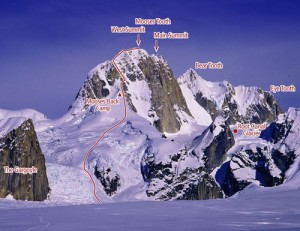 The Mooses Tooth - West Ridge V, 80-deg ice to main summit - Alaska, USA. Click to Enlarge