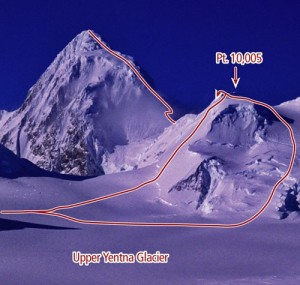 Mount Russell - North Ridge III, 65-degree snow and ice - Alaska, USA. Click to Enlarge