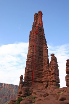 Fisher Towers, The Titan - Finger of Fate 5.8 C3F - Desert Towers, Utah, USA. Click to Enlarge