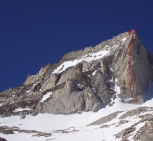 Bear Creek Spire - North Arete 5.8 - High Sierra, California USA. Click to Enlarge