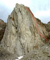 Incredible Hulk - Falling Dihedral Var. 5.10a - High Sierra, California USA. Click to Enlarge