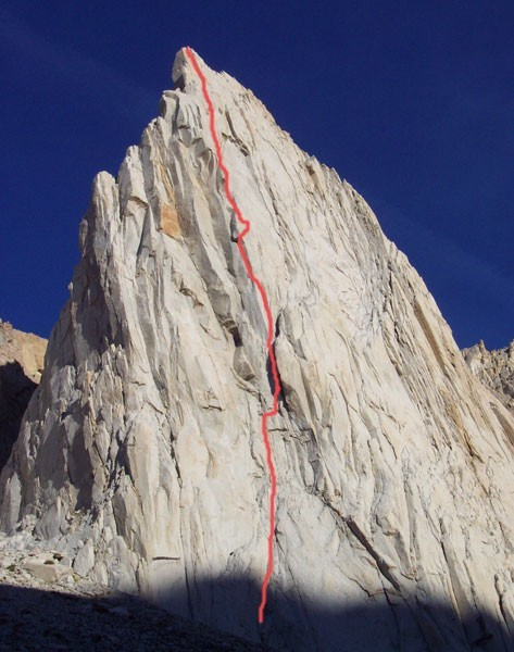 The route as seen from the bivy spot.