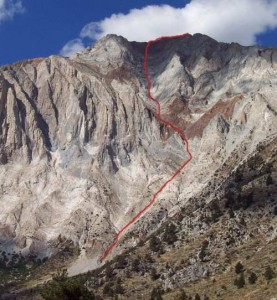 Laurel Mountain - Northeast Gully 5.2 - High Sierra, California USA. Click to Enlarge