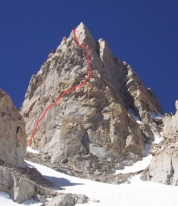 Matterhorn Peak - North Arete 5.7 - High Sierra, California USA. Click to Enlarge