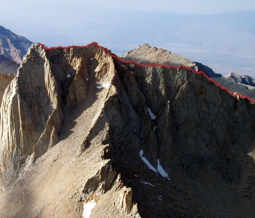 The route as seen from the summit of Whitney.