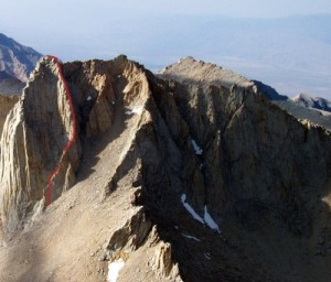 Mt. Russell - Fishhook Arete 5.9 - High Sierra, California USA. Click to Enlarge