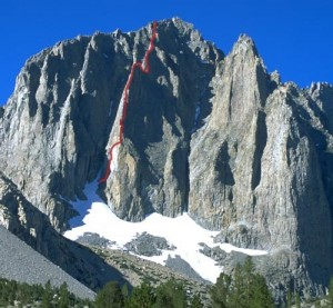 Temple Crag - Sun Ribbon Arete 5.10a - High Sierra, California USA. Click to Enlarge