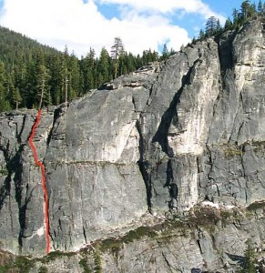 Lover's Leap, Central Wall - Lover's Chimney 5.7 - Lake Tahoe, California, USA. Click to Enlarge