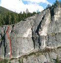 Lover's Leap, Central Wall - Lover's Chimney 5.7 - Lake Tahoe, California, USA. Click for details.
