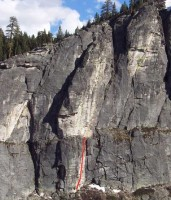 Lover's Leap, Central Wall - Roofer Madness 5.10d - Lake Tahoe, California, USA. Click to Enlarge