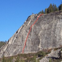 Lover's Leap, East Wall - East Crack 5.8 - Lake Tahoe, California, USA. Click to Enlarge