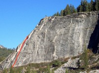 Lover's Leap, East Wall - East Corner 5.11b - Lake Tahoe, California, USA. Click to Enlarge