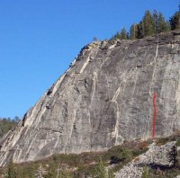 Lover's Leap, East Wall - Labor of Love 5.10a - Lake Tahoe, California, USA. Click to Enlarge