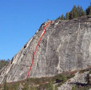 Lover's Leap, East Wall - Scimitar 5.9 R - Lake Tahoe, California, USA. Click to Enlarge