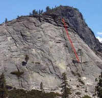 Lover's Leap, Hogsback - Harvey's Wallbangers, Right 5.7 - Lake Tahoe, California, USA. Click to Enlarge