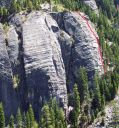 Lover's Leap, Lower Buttress - The Farce 5.5 - Lake Tahoe, California, USA. Click for details.